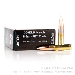 20 Rounds of .300 AAC Blackout Ammo by PNW Arms - 155gr HPBT
