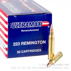 50 Rounds of .223 Ammo by Ultramax Remanufactured - 55gr Soft Point