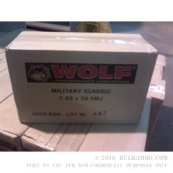1000 Rounds of 7.62x39mm Ammo by Wolf - 124gr FMJ