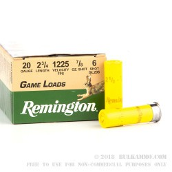 25 Rounds of 20ga Ammo by Remington - 7/8 ounce #6 shot
