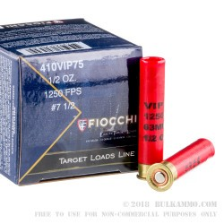 250 Rounds of .410 Ammo by Fiocchi - 1/2 ounce #7 1/2 shot
