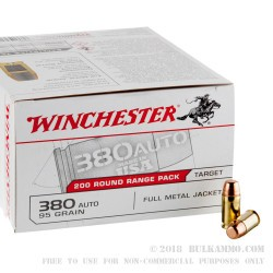 1000 Rounds of .380 ACP Ammo by Winchester - 95gr FMJ