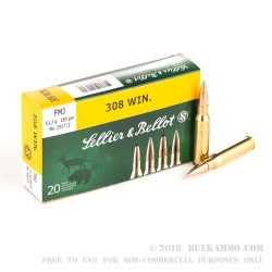 20 Rounds of .308 Win Ammo by Sellier & Bellot - 180gr FMJ