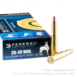20 Rounds of 30-30 Win Ammo by Federal - 170gr SP