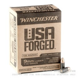 750 Rounds of 9mm Ammo by Winchester Forged - 115gr FMJ