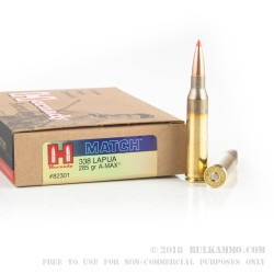 20 Rounds of .338 Lapua Ammo by Hornady Match - 285gr A-Max
