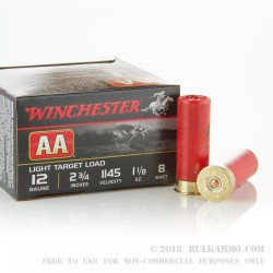 250 Rounds of 12ga Ammo by Winchester -  AA Light Target #8 Shot
