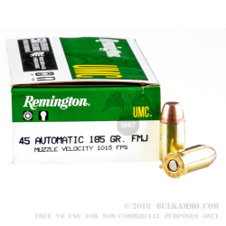 50 Rounds of .45 ACP Ammo by Remington - 185gr MC