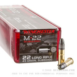 100 Rounds of .22 LR Ammo by Winchester M-22 Subsonic - 45 gr RN