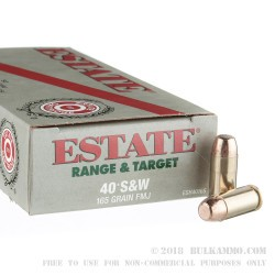 50 Rounds of .40 S&W Ammo by Estate Cartridge - 165gr FMJ