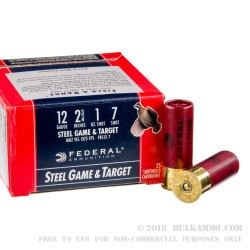 250 Rounds of 12ga Ammo by Federal Steel Game and Target - 1 ounce #7 Shot (Steel)