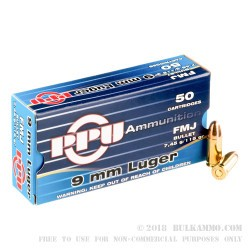 2000 Rounds of 9mm Ammo by Prvi Partizan - 115gr FMJ