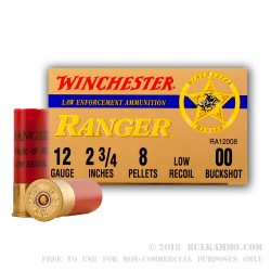 12 ga Ammo in Stock - 00 Buck Low Recoil Winchester Ranger For Sale