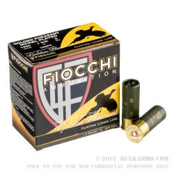 250 Rounds of 12ga Ammo by Fiocchi - 1 3/8 ounce #5 nickel plated lead shot