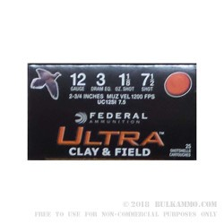25 Rounds of 12ga Ammo by Federal Ultra Clay & Field - 1 1/8 ounce #7 1/2 shot