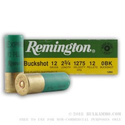 5 Rounds of 12ga Ammo by Remington -  0 Buck