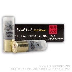 5 Rounds of 12ga Ammo by Rio Ammunition -  00 Buck 9 Pellet - Low Recoil - Fiber Wad