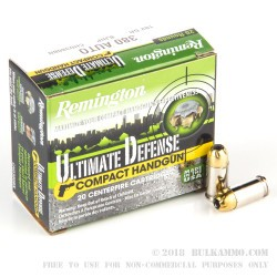 20 Rounds of .380 ACP Ammo by Remington Ultimate Defense - 102 gr BJHP