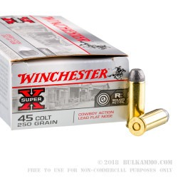 50 Rounds of .45 Long-Colt Ammo by Winchester - 250gr LFN