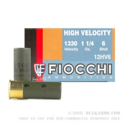250 Rounds of 12ga High Velocity Ammo by Fiocchi - 1 1/4 ounce #6 shot