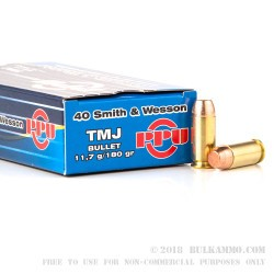 50 Rounds of .40 S&W Ammo by Prvi Partizan - 180gr TMJ