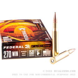 20 Rounds of .270 Win Short Mag Ammo by Federal - 150gr Fusion