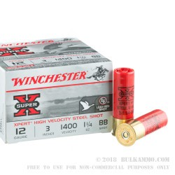 25 Rounds of 12ga Ammo by Winchester Super-X Xpert HV - 1 1/4 ounce BB Steel Shot