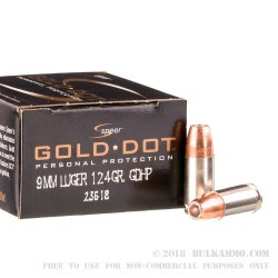 500  Rounds of 9mm Ammo by Speer - 124gr JHP