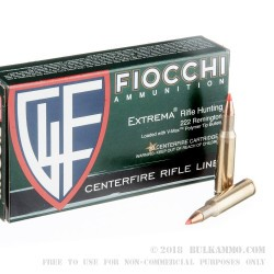 20 Rounds of .222 Rem Ammo by Fiocchi - 50gr VMAX