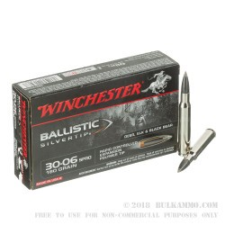 20 Rounds of 30-06 Springfield Ammo by Winchester Ballistic Silvertip - 180gr Polymer Tipped
