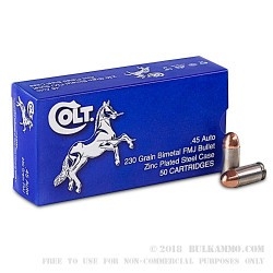 500  Rounds of .45 ACP Ammo by Colt - 230gr FMJ