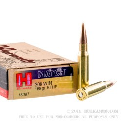 200 Rounds of .308 Win Ammo by Hornady Match - 168gr HPBT