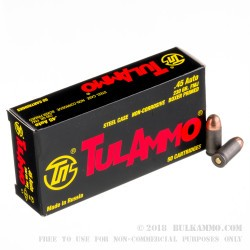 50 Rounds of .45 ACP Ammo by Tula - 230gr FMJ