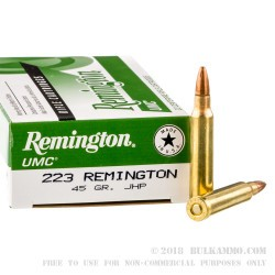20 Rounds of .223 Ammo by Remington - 45 gr JHP