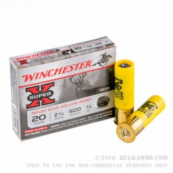 250 Rounds of 20ga Ammo by Winchester - 3/4 ounce Rifled Slug