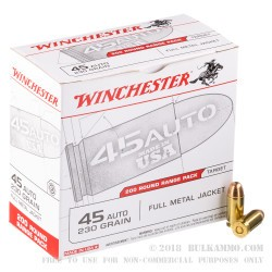 600 Rounds of .45 ACP Ammo by Winchester - 230gr FMJ