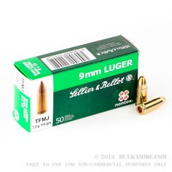 50 Rounds of 9mm Ammo by Sellier & Bellot Non-Toxic - 115gr TMJ