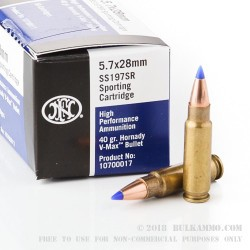 2000 Rounds of 5.7x28 mm Ammo by FN Herstal - 40gr V-MAX