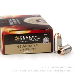 50 Rounds of .45 ACP +P HST Ammo by Federal LE - 230gr JHP