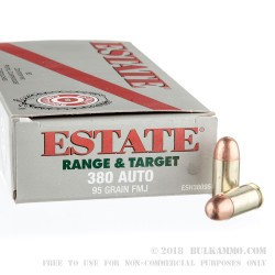 50 Rounds of .380 ACP Ammo by Estate Cartridge - 95gr FMJ