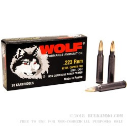 20 Rounds of .223 Ammo by Wolf - 62gr FMJ