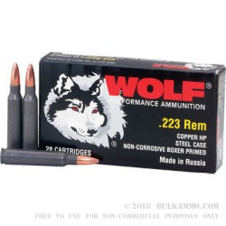 500  Rounds of .223 Ammo by Wolf - 55gr HP