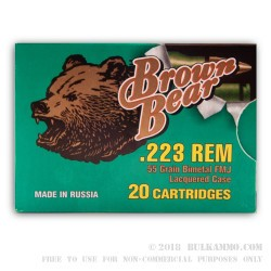 20 Rounds of .223 Ammo by Brown Bear - 55gr FMJ