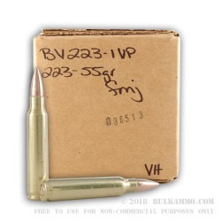 250 Rounds of .223 Ammo by BVAC - 55gr FMJ