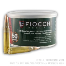 50 Rounds of .223 Canned Heat Ammo by Fiocchi - 62gr FMJBT