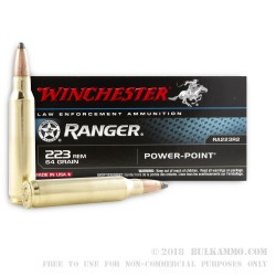 20 Rounds of .223 Ammo by Winchester - 64gr PP