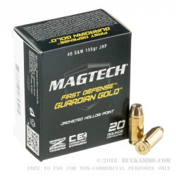 20 Rounds of .40 S&W Ammo by Magtech - 155gr JHP