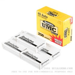 250 Rounds of .45 ACP Ammo by Remington - 230gr MC