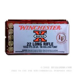 50 Rounds of .22 LR Ammo by Winchester - 26gr HP