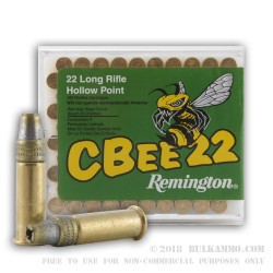 100 Rounds of .22 LR Ammo by Remington CBee - 33gr HP